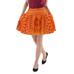 Lotus Fractal Flower Orange Yellow A Line Pocket Skirt by EDDArt