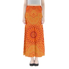 Lotus Fractal Flower Orange Yellow Maxi Skirts by EDDArt
