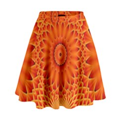 Lotus Fractal Flower Orange Yellow High Waist Skirt by EDDArt