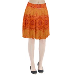 Lotus Fractal Flower Orange Yellow Pleated Skirt by EDDArt