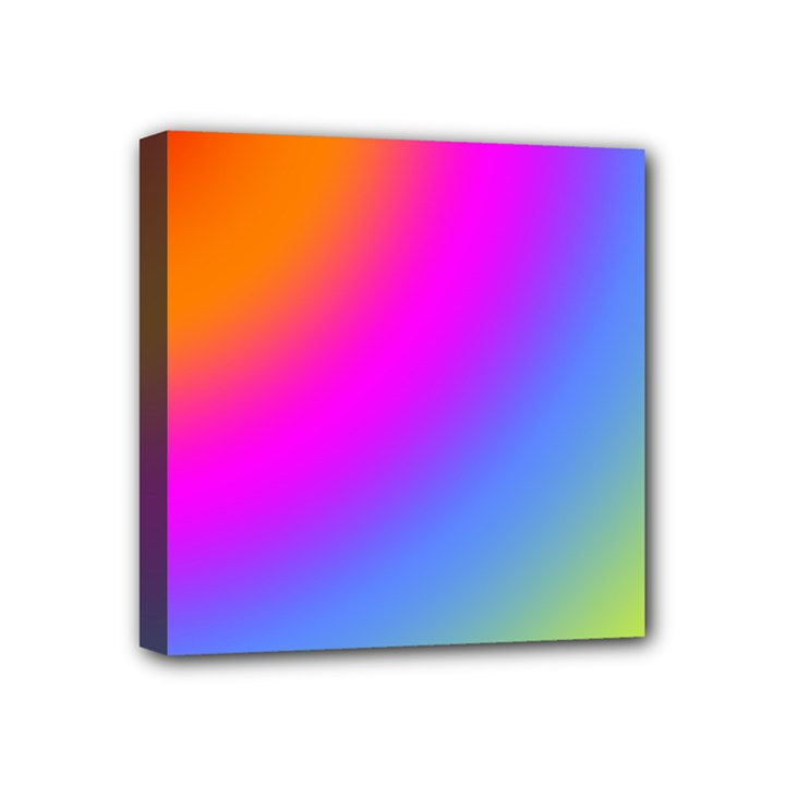 Radial Gradients Red Orange Pink Blue Green Mini Canvas 4  x 4