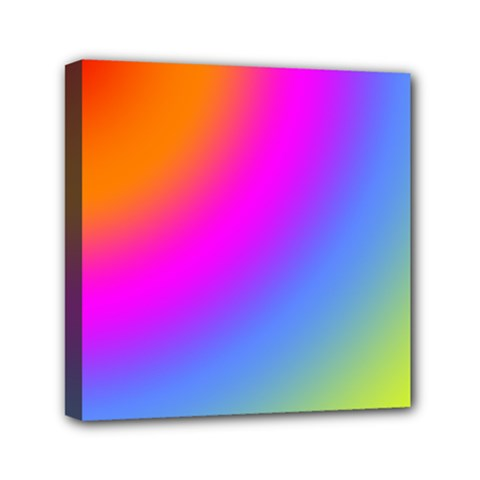 Radial Gradients Red Orange Pink Blue Green Mini Canvas 6  X 6  by EDDArt