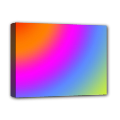 Radial Gradients Red Orange Pink Blue Green Deluxe Canvas 16  X 12   by EDDArt