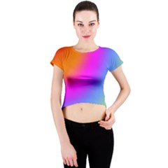 Radial Gradients Red Orange Pink Blue Green Crew Neck Crop Top by EDDArt