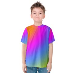 Radial Gradients Red Orange Pink Blue Green Kids  Cotton Tee by EDDArt