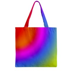 Radial Gradients Red Orange Pink Blue Green Grocery Tote Bag by EDDArt
