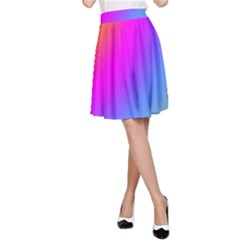 Radial Gradients Red Orange Pink Blue Green A Line Skirt by EDDArt