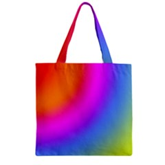 Radial Gradients Red Orange Pink Blue Green Zipper Grocery Tote Bag by EDDArt