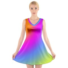Radial Gradients Red Orange Pink Blue Green V Neck Sleeveless Skater Dress by EDDArt