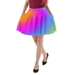 Radial Gradients Red Orange Pink Blue Green A Line Pocket Skirt by EDDArt