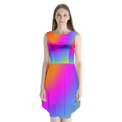 Radial Gradients Red Orange Pink Blue Green Sleeveless Chiffon Dress   by EDDArt