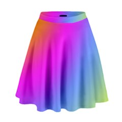 Radial Gradients Red Orange Pink Blue Green High Waist Skirt by EDDArt