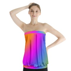 Radial Gradients Red Orange Pink Blue Green Strapless Top by EDDArt