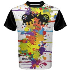 Crazy Multicolored Double Running Splashes Men s Cotton Tee by EDDArt