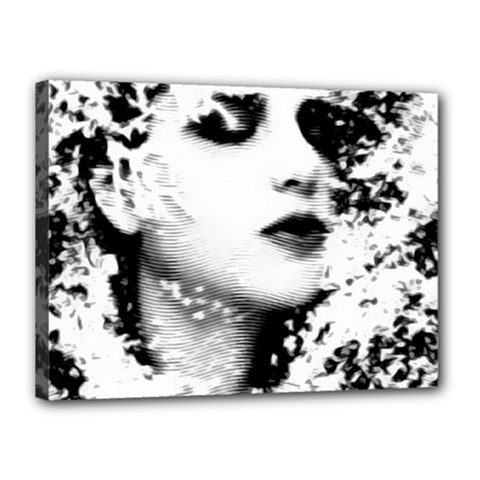 Romantic Dreaming Girl Grunge Black White Canvas 16  X 12