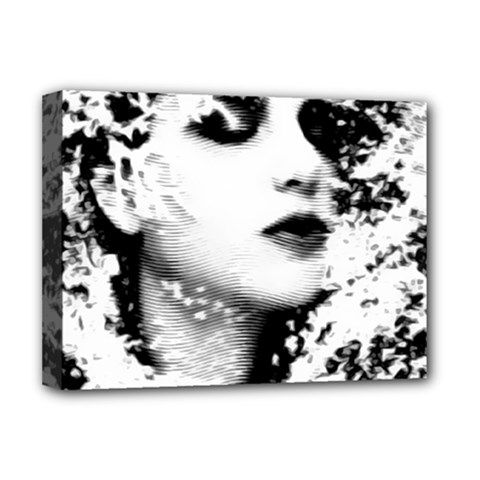 Romantic Dreaming Girl Grunge Black White Deluxe Canvas 16  X 12   by EDDArt
