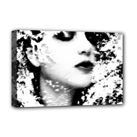 Romantic Dreaming Girl Grunge Black White Deluxe Canvas 18  X 12   by EDDArt