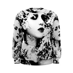 Romantic Dreaming Girl Grunge Black White Women s Sweatshirt