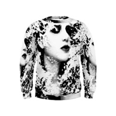 Romantic Dreaming Girl Grunge Black White Kids  Sweatshirt