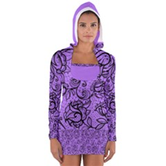 Elegant Lace Women s Long Sleeve Hooded T Shirt
