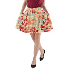 Modern Hipster Triangle Pattern Red Blue Beige A Line Pocket Skirt by EDDArt