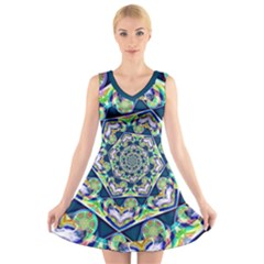 Power Spiral Polygon Blue Green White V Neck Sleeveless Dress by EDDArt