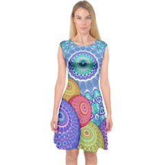 India Ornaments Mandala Balls Multicolored Capsleeve Midi Dress by EDDArt