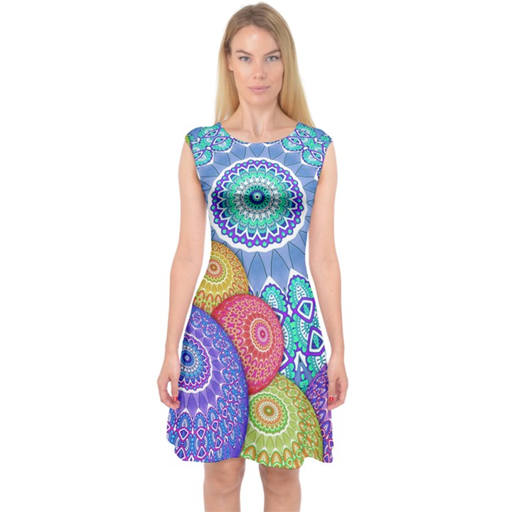 India Ornaments Mandala Balls multicolored Capsleeve Midi Dress