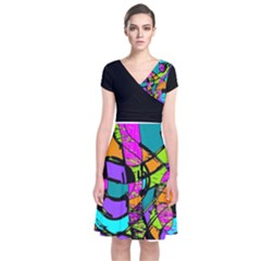 Abstract Sketch Art Squiggly Loops Multicolored Short Sleeve Front Wrap Dress by EDDArt