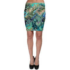 Fractal Batik Art Teal Turquoise Salmon Bodycon Skirt by EDDArt