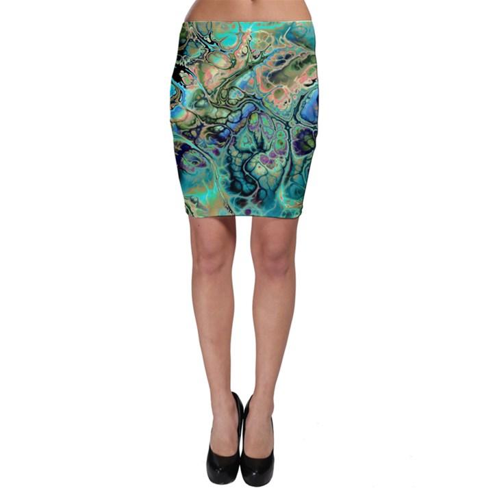 Fractal Batik ART Teal Turquoise Salmon Bodycon Skirt