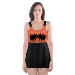 Two Indian Elephants Silhouette Black Skater Dress Swimsuit by EDDArt