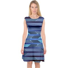 Abric Texture Alternate Direction Capsleeve Midi Dress by AnjaniArt