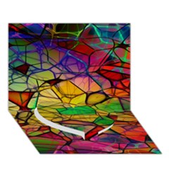 Abstract Squares Triangle Polygon Heart Bottom 3d Greeting Card (7x5) by AnjaniArt