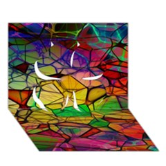 Abstract Squares Triangle Polygon Clover 3d Greeting Card (7x5) by AnjaniArt