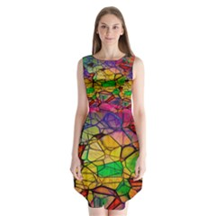 Abstract Squares Triangle Polygon Sleeveless Chiffon Dress   by AnjaniArt