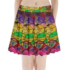 Abstract Squares Triangle Polygon Pleated Mini Skirt by AnjaniArt