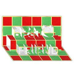 Christmas Fabric Textile Red Green Best Friends 3d Greeting Card (8x4)