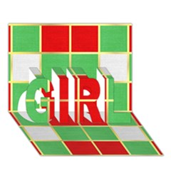 Christmas Fabric Textile Red Green Girl 3d Greeting Card (7x5)