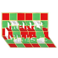 Christmas Fabric Textile Red Green Merry Xmas 3d Greeting Card (8x4) by AnjaniArt