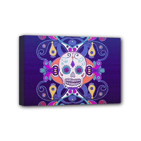 Día De Los Muertos Skull Ornaments Multicolored Mini Canvas 6  X 4  by EDDArt
