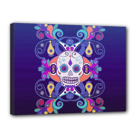 Día De Los Muertos Skull Ornaments Multicolored Canvas 16  X 12  by EDDArt
