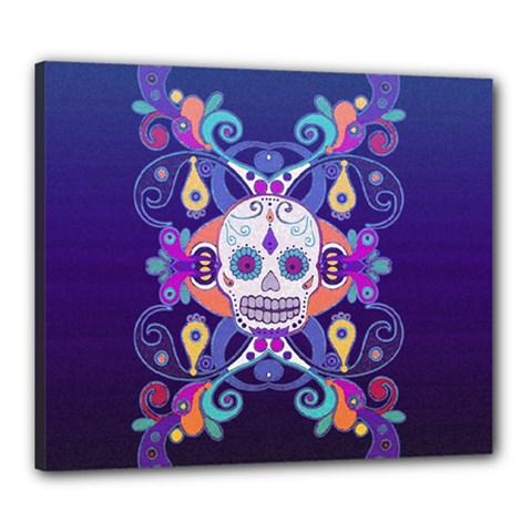 Día De Los Muertos Skull Ornaments Multicolored Canvas 24  X 20  by EDDArt