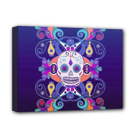 Día De Los Muertos Skull Ornaments Multicolored Deluxe Canvas 16  X 12   by EDDArt