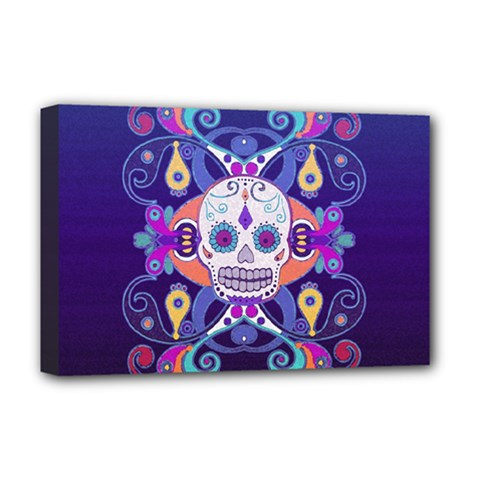 Día De Los Muertos Skull Ornaments Multicolored Deluxe Canvas 18  X 12   by EDDArt