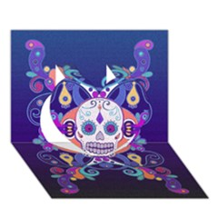 Día De Los Muertos Skull Ornaments Multicolored Heart 3d Greeting Card (7x5) by EDDArt