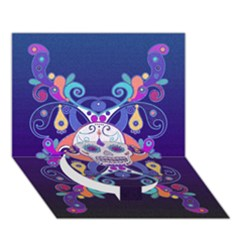 Día De Los Muertos Skull Ornaments Multicolored Circle Bottom 3d Greeting Card (7x5) by EDDArt