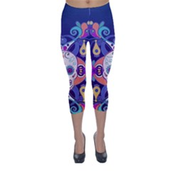 Día De Los Muertos Skull Ornaments Multicolored Capri Winter Leggings  by EDDArt