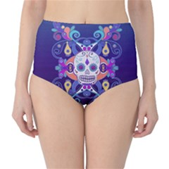 Día De Los Muertos Skull Ornaments Multicolored High Waist Bikini Bottoms by EDDArt