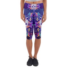 Día De Los Muertos Skull Ornaments Multicolored Capri Yoga Leggings by EDDArt